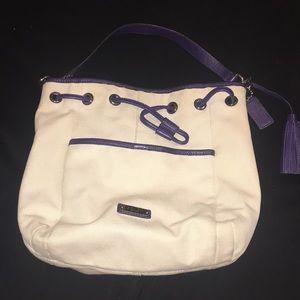 Blue and cream Coach bag